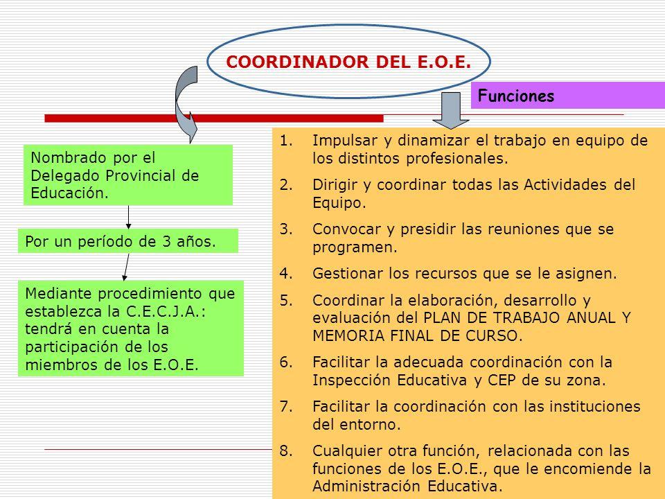 13 COORDINADOR DEL E.O.E. Nombrado por el Delegado Provincial de Educación. Por un período de 3 años. Mediante procedimiento que establezca la C.E.C.J