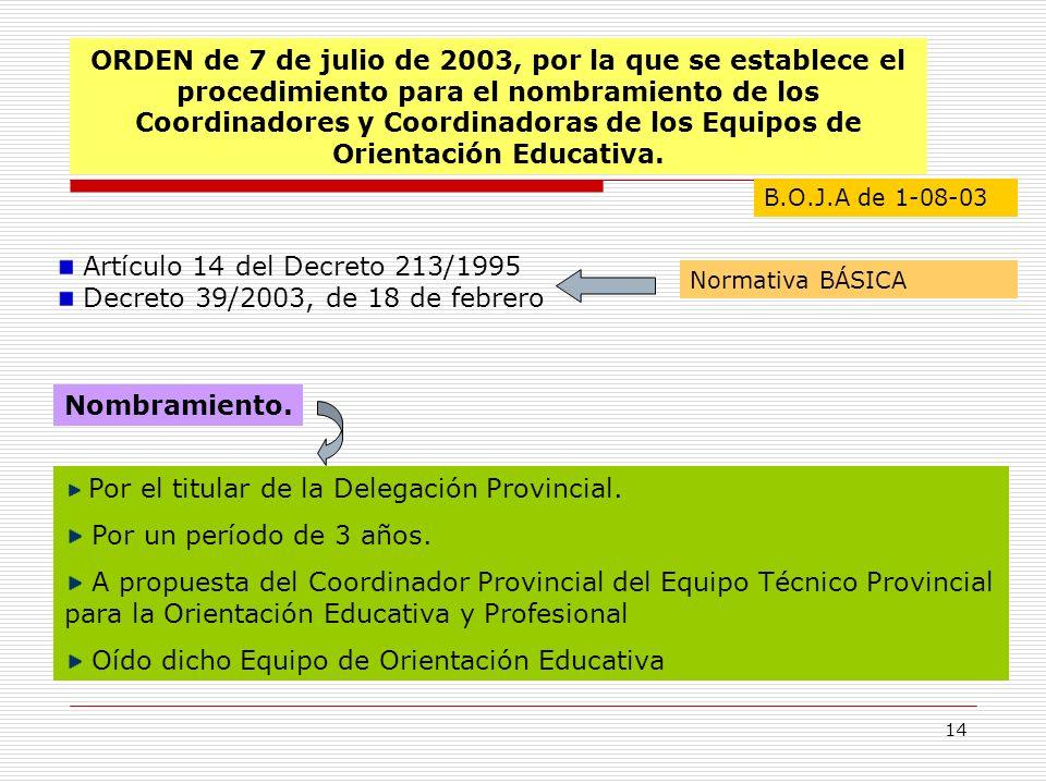 14 ORDEN de 7 de julio de 2003, por la que se establece el procedimiento para el nombramiento de los Coordinadores y Coordinadoras de los Equipos de O