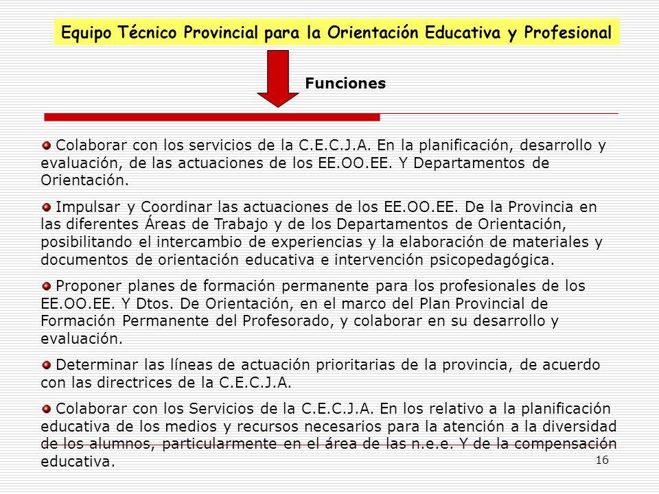 16 Equipo Técnico Provincial para la Orientación Educativa y Profesional Funciones Colaborar con los servicios de la C.E.C.J.A. En la planificación, d
