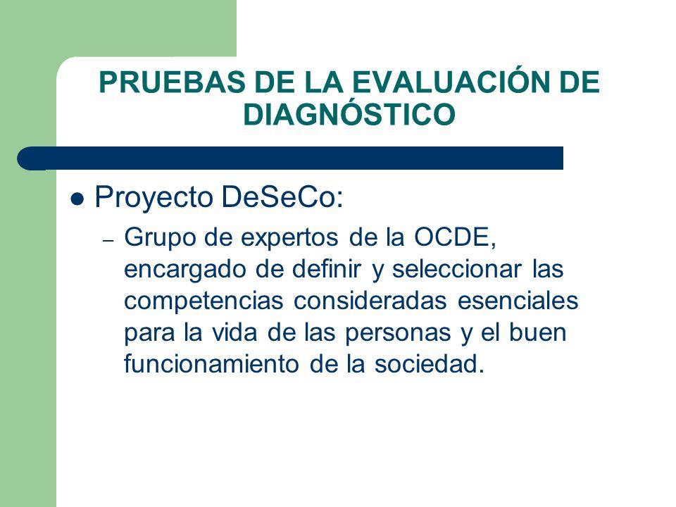 PRUEBAS DE LA EVALUACIÓN DE DIAGNÓSTICO Proyecto DeSeCo: – Grupo de expertos de la OCDE, encargado de definir y seleccionar las competencias considera