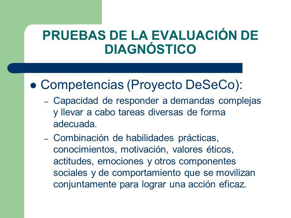 PRUEBAS DE LA EVALUACIÓN DE DIAGNÓSTICO Competencias (Proyecto DeSeCo): – Capacidad de responder a demandas complejas y llevar a cabo tareas diversas