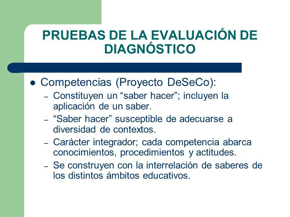 PRUEBAS DE LA EVALUACIÓN DE DIAGNÓSTICO Competencias (Proyecto DeSeCo): – Constituyen un saber hacer; incluyen la aplicación de un saber. – Saber hace