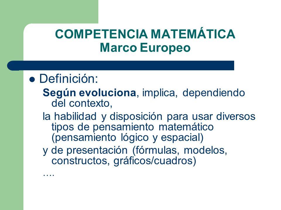 COMPETENCIA MATEMÁTICA Marco Europeo Definición: Según evoluciona, implica, dependiendo del contexto, la habilidad y disposición para usar diversos ti