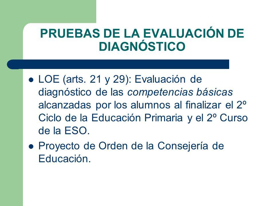 PRUEBAS DE LA EVALUACIÓN DE DIAGNÓSTICO LOE (arts. 21 y 29): Evaluación de diagnóstico de las competencias básicas alcanzadas por los alumnos al final