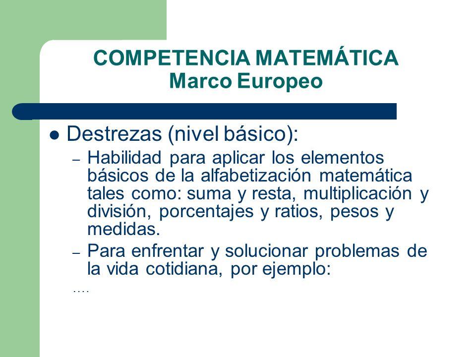 COMPETENCIA MATEMÁTICA Marco Europeo Destrezas (nivel básico): – Habilidad para aplicar los elementos básicos de la alfabetización matemática tales co