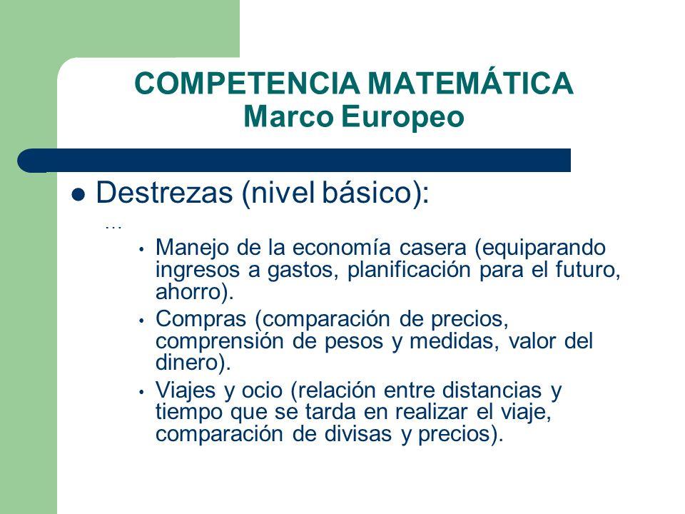 COMPETENCIA MATEMÁTICA Marco Europeo Destrezas (nivel básico): … Manejo de la economía casera (equiparando ingresos a gastos, planificación para el fu