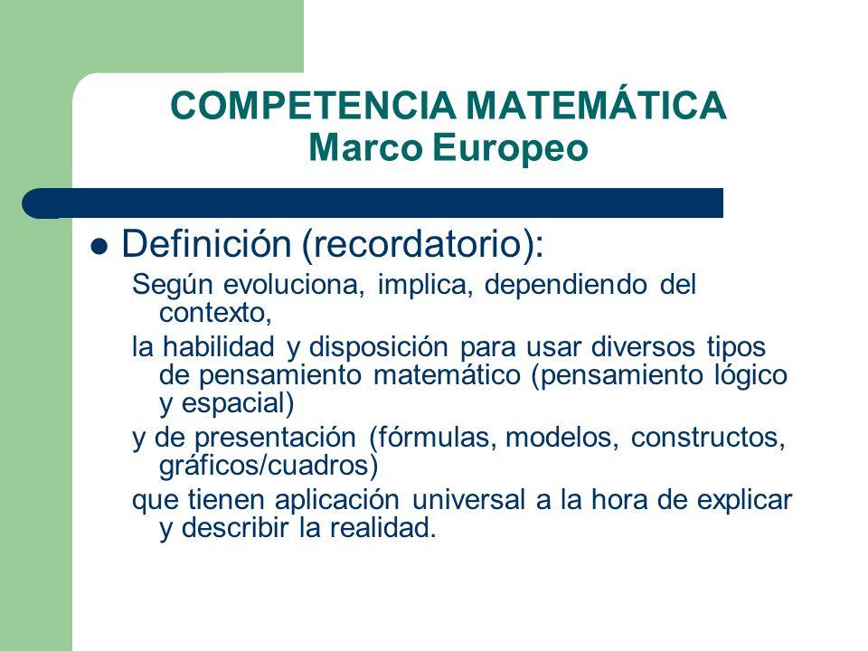 COMPETENCIA MATEMÁTICA Marco Europeo Definición (recordatorio): Según evoluciona, implica, dependiendo del contexto, la habilidad y disposición para u