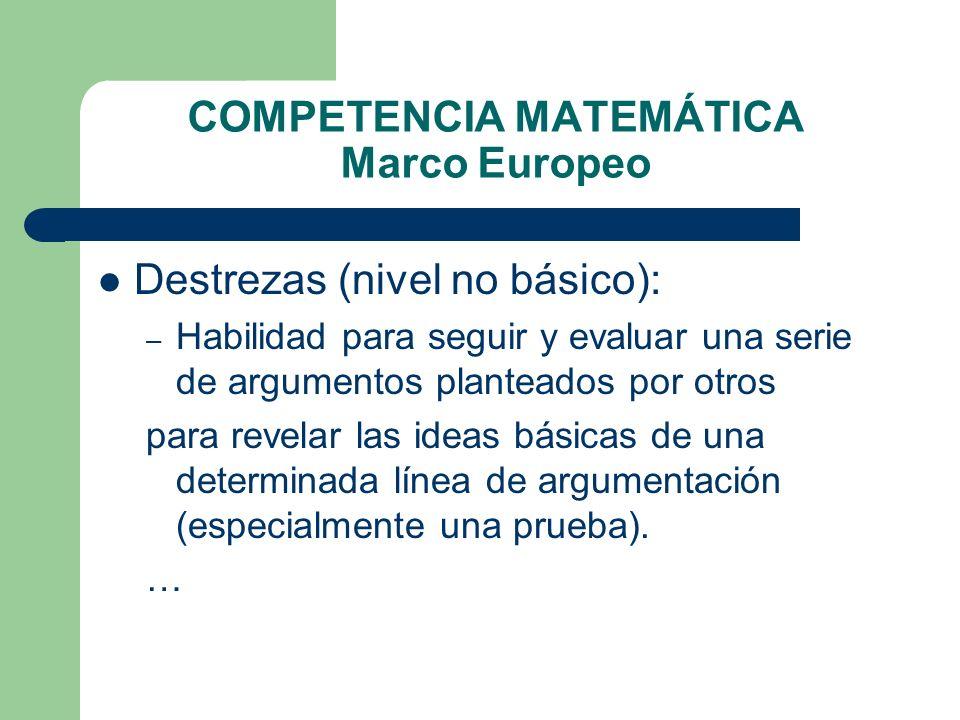 COMPETENCIA MATEMÁTICA Marco Europeo Destrezas (nivel no básico): – Habilidad para seguir y evaluar una serie de argumentos planteados por otros para
