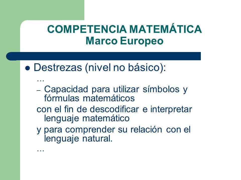 COMPETENCIA MATEMÁTICA Marco Europeo Destrezas (nivel no básico): … – Capacidad para utilizar símbolos y fórmulas matemáticos con el fin de descodific