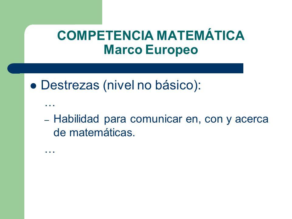 COMPETENCIA MATEMÁTICA Marco Europeo Destrezas (nivel no básico): … – Habilidad para comunicar en, con y acerca de matemáticas. …