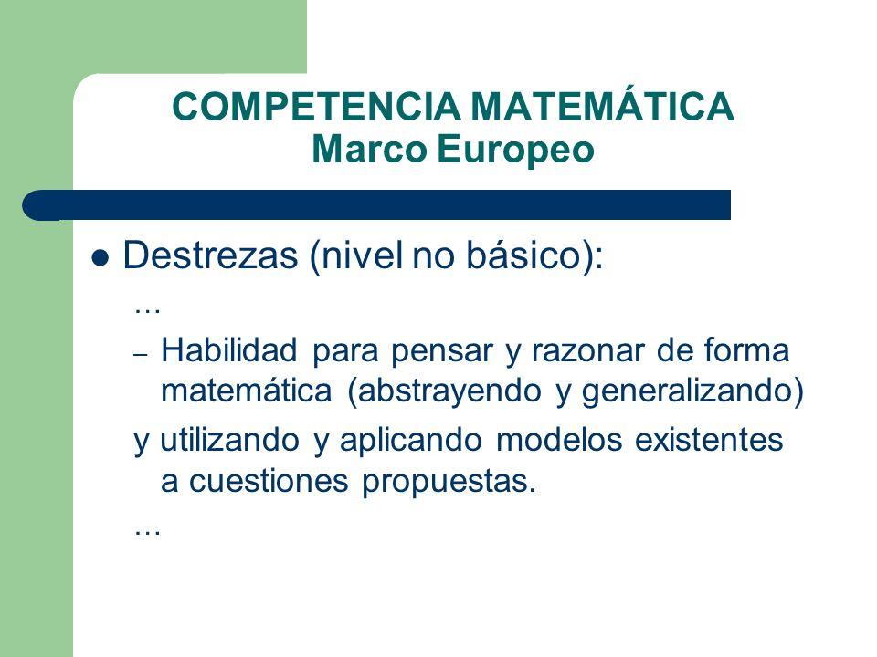 COMPETENCIA MATEMÁTICA Marco Europeo Destrezas (nivel no básico): … – Habilidad para pensar y razonar de forma matemática (abstrayendo y generalizando
