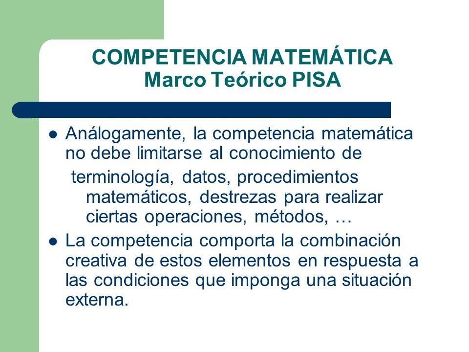 COMPETENCIA MATEMÁTICA Marco Teórico PISA Análogamente, la competencia matemática no debe limitarse al conocimiento de terminología, datos, procedimie