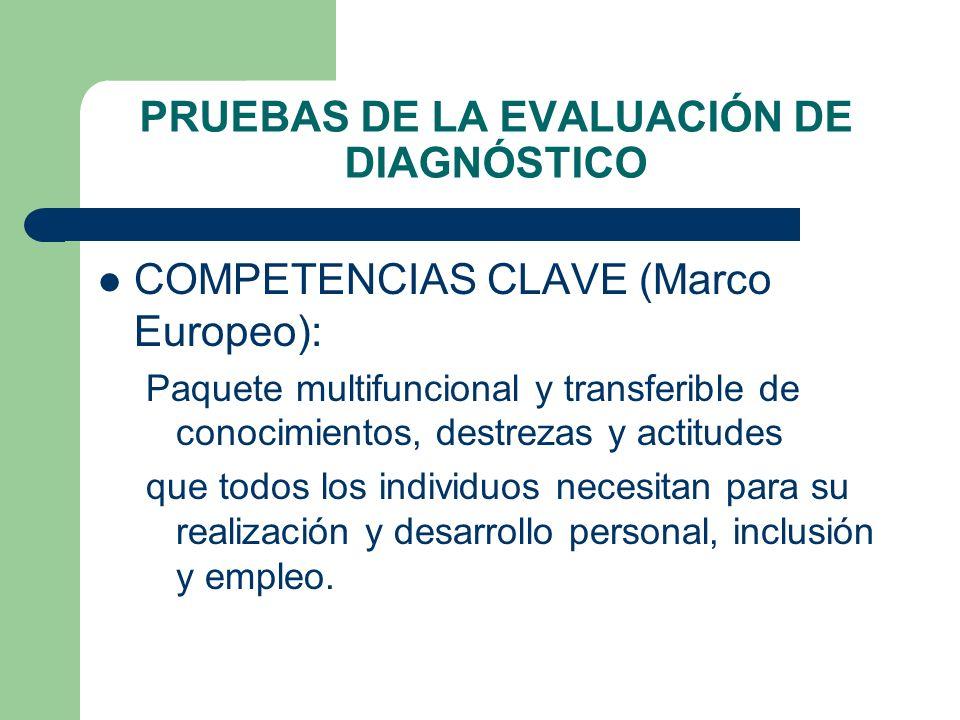 PRUEBAS DE LA EVALUACIÓN DE DIAGNÓSTICO COMPETENCIAS CLAVE (Marco Europeo): Paquete multifuncional y transferible de conocimientos, destrezas y actitu