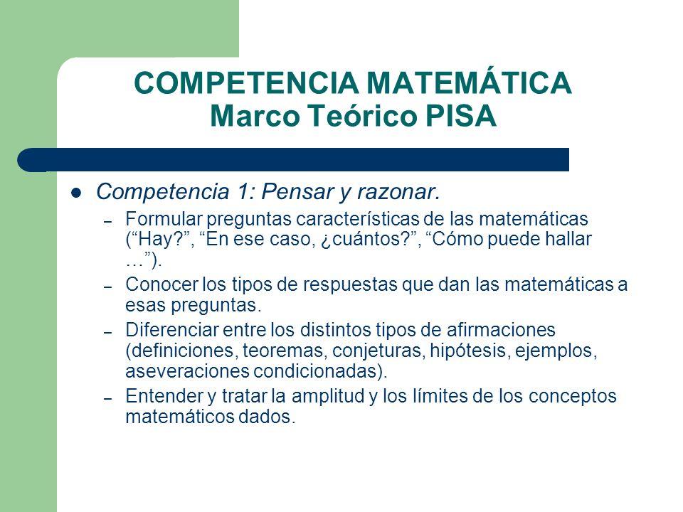 COMPETENCIA MATEMÁTICA Marco Teórico PISA Competencia 1: Pensar y razonar. – Formular preguntas características de las matemáticas (Hay?, En ese caso,
