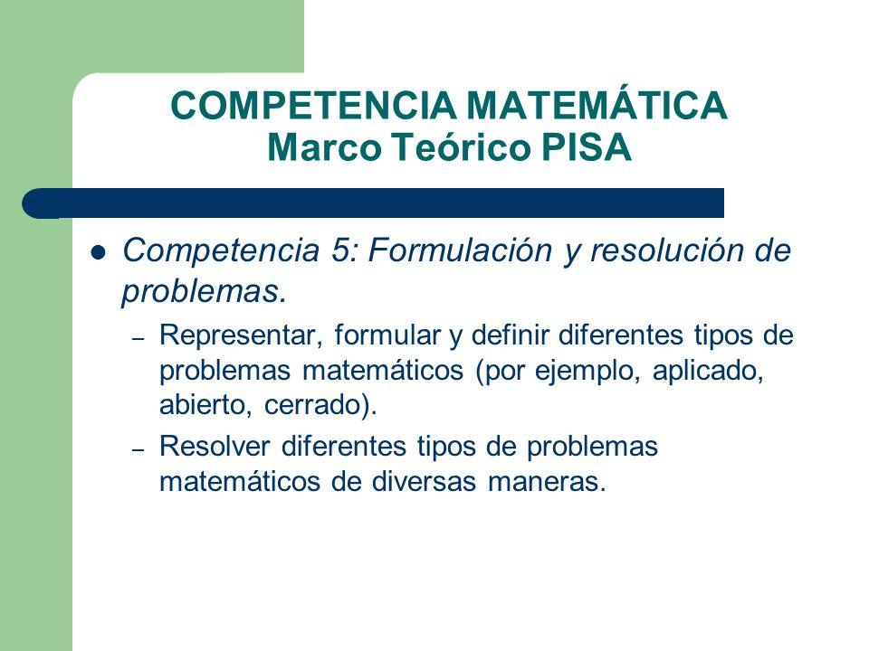 COMPETENCIA MATEMÁTICA Marco Teórico PISA Competencia 5: Formulación y resolución de problemas. – Representar, formular y definir diferentes tipos de
