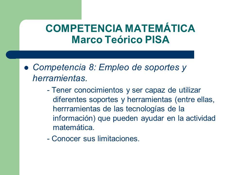 COMPETENCIA MATEMÁTICA Marco Teórico PISA Competencia 8: Empleo de soportes y herramientas. - Tener conocimientos y ser capaz de utilizar diferentes s