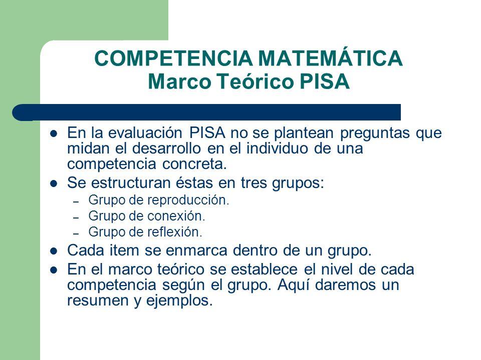 COMPETENCIA MATEMÁTICA Marco Teórico PISA En la evaluación PISA no se plantean preguntas que midan el desarrollo en el individuo de una competencia co