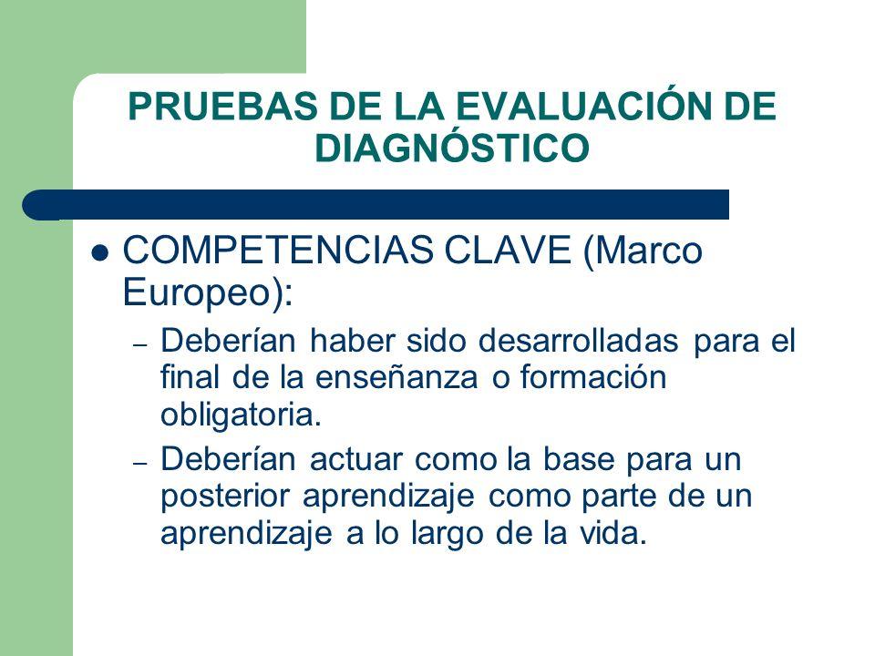 PRUEBAS DE LA EVALUACIÓN DE DIAGNÓSTICO COMPETENCIAS CLAVE (Marco Europeo): – Deberían haber sido desarrolladas para el final de la enseñanza o formac