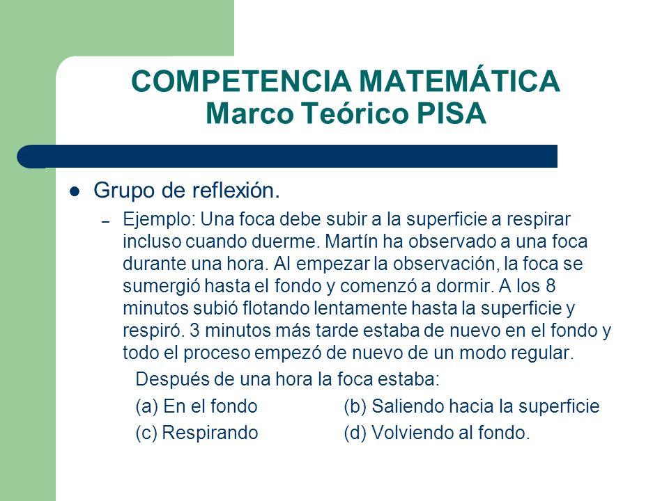 COMPETENCIA MATEMÁTICA Marco Teórico PISA Grupo de reflexión. – Ejemplo: Una foca debe subir a la superficie a respirar incluso cuando duerme. Martín