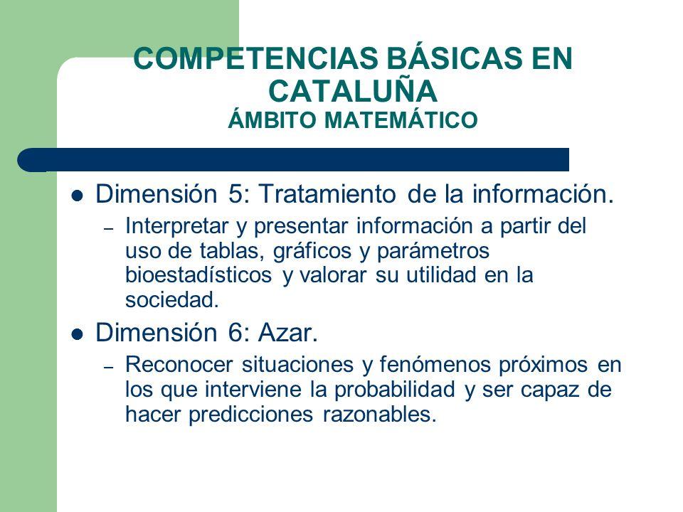 COMPETENCIAS BÁSICAS EN CATALUÑA ÁMBITO MATEMÁTICO Dimensión 5: Tratamiento de la información. – Interpretar y presentar información a partir del uso