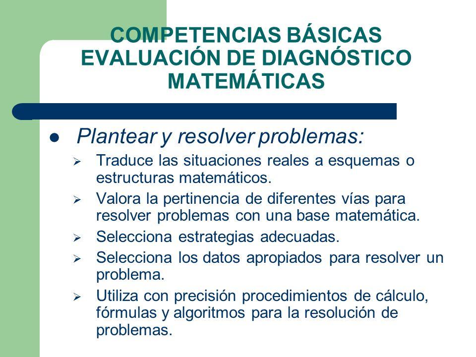 COMPETENCIAS BÁSICAS EVALUACIÓN DE DIAGNÓSTICO MATEMÁTICAS Plantear y resolver problemas: Traduce las situaciones reales a esquemas o estructuras mate