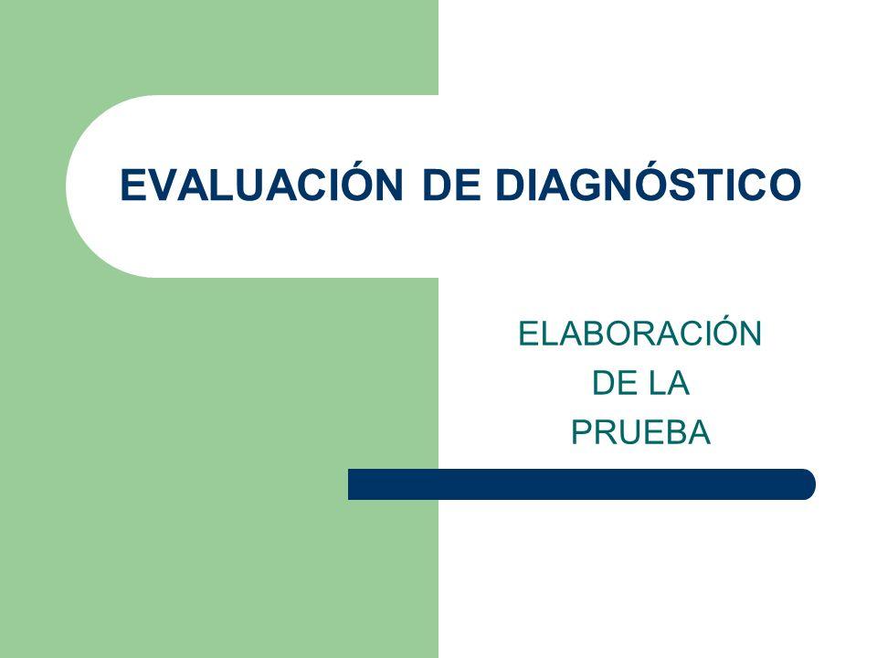 EVALUACIÓN DE DIAGNÓSTICO ELABORACIÓN DE LA PRUEBA