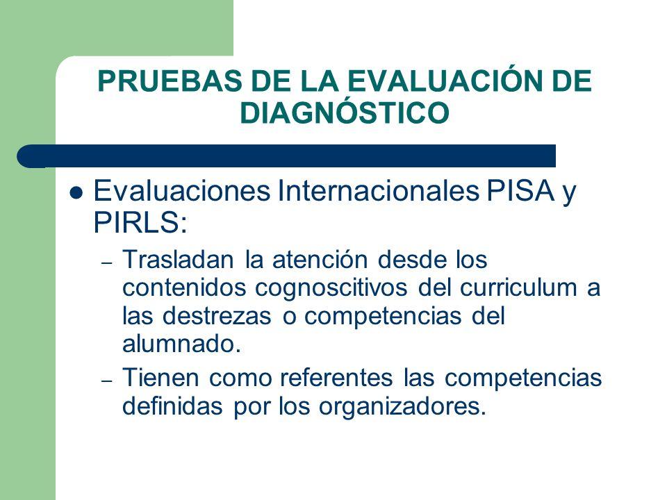 PRUEBAS DE LA EVALUACIÓN DE DIAGNÓSTICO Evaluaciones Internacionales PISA y PIRLS: – Trasladan la atención desde los contenidos cognoscitivos del curr