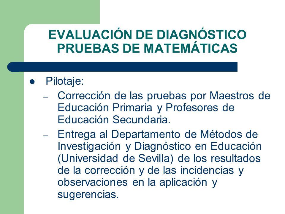 EVALUACIÓN DE DIAGNÓSTICO PRUEBAS DE MATEMÁTICAS Pilotaje: – Corrección de las pruebas por Maestros de Educación Primaria y Profesores de Educación Se