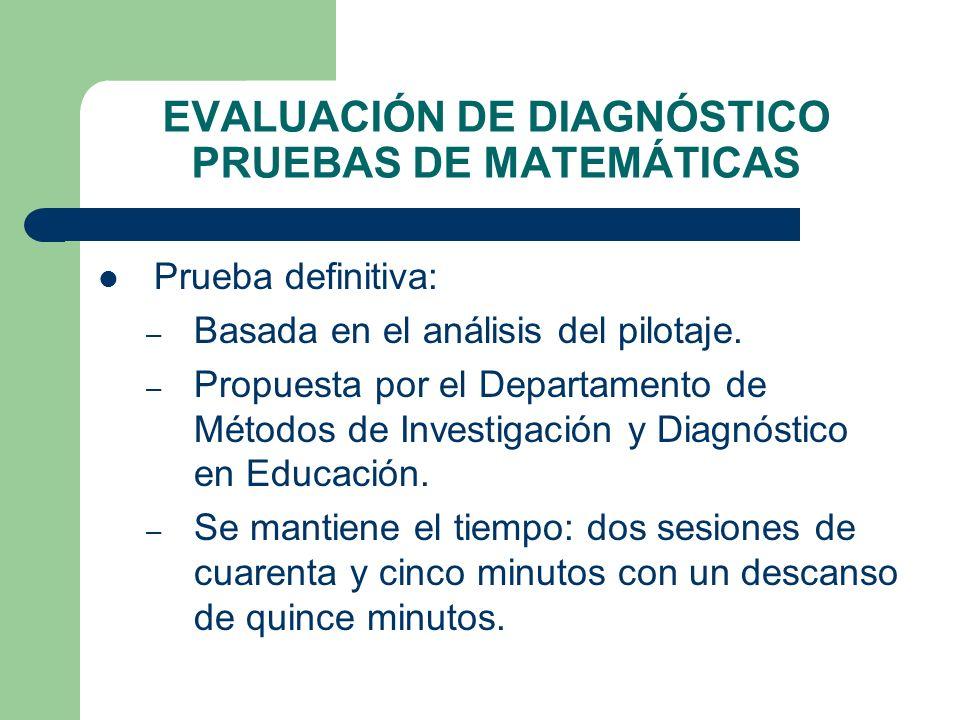 EVALUACIÓN DE DIAGNÓSTICO PRUEBAS DE MATEMÁTICAS Prueba definitiva: – Basada en el análisis del pilotaje. – Propuesta por el Departamento de Métodos d