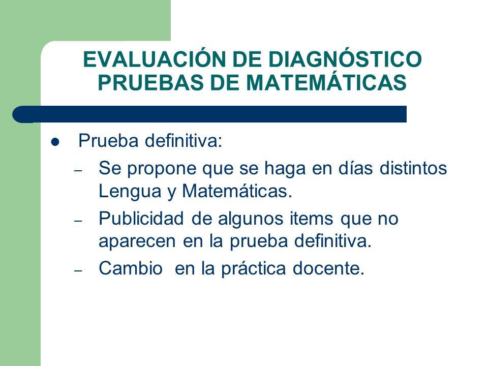 EVALUACIÓN DE DIAGNÓSTICO PRUEBAS DE MATEMÁTICAS Prueba definitiva: – Se propone que se haga en días distintos Lengua y Matemáticas. – Publicidad de a