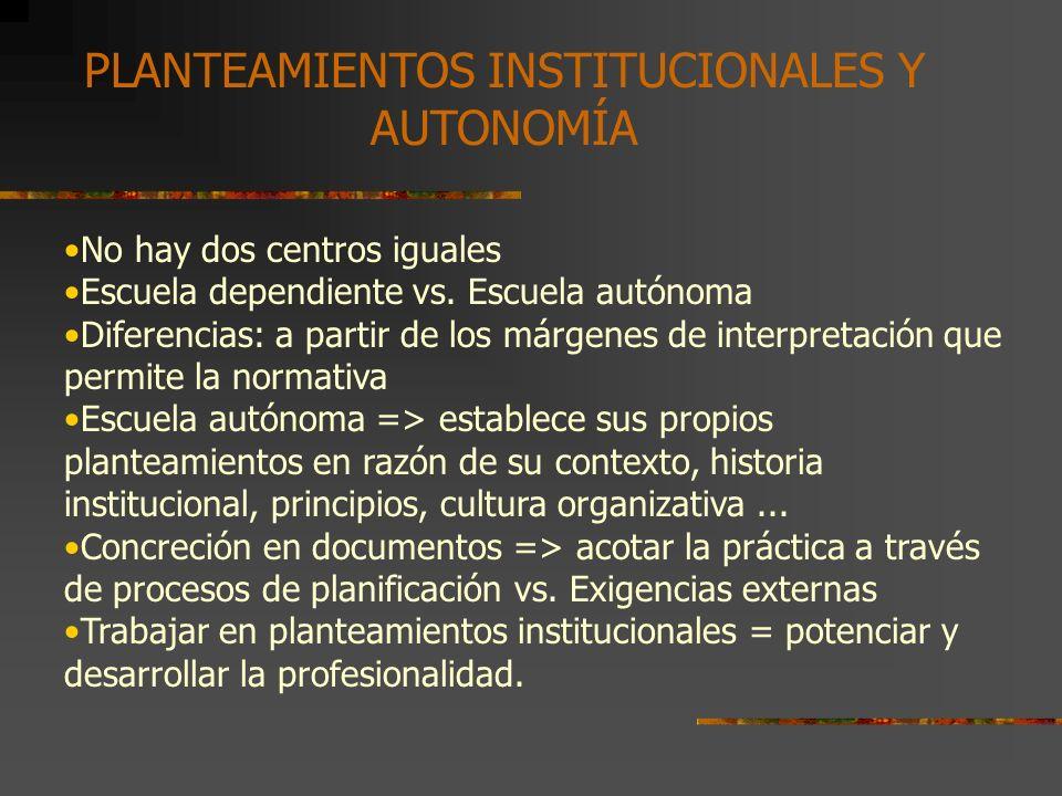 Los planteamientos institucionales sería en tal sentido:...aquellos mecanismos que posibilitan y facilitan a los miembros de una comunidad escolar expresar sus intereses, valores, creencias, principios educativos, modelos de enseñanza, etc., y llegar a negociarlos para convertirlos, a través de un consenso con otros estamentos, en modelos específicos y propios del centro que como entidad autónoma constituye el ecosistema del centro educativo PLANTEAMIENTOS INSTITUCIONALES Y AUTONOMÍA (M.