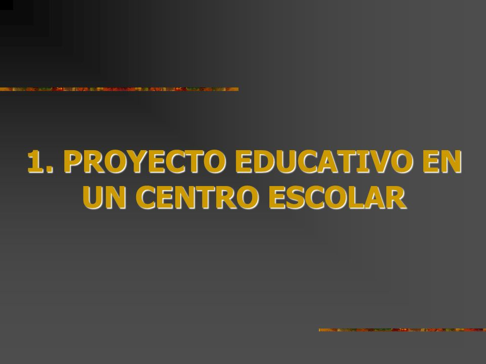PROYECTO EDUCATIVO EN UN CENTRO ESCOLAR 1.1. INSTRUMENTO MARCO Y GUÍA DE LA ACCIÓN EDUCATIVA
