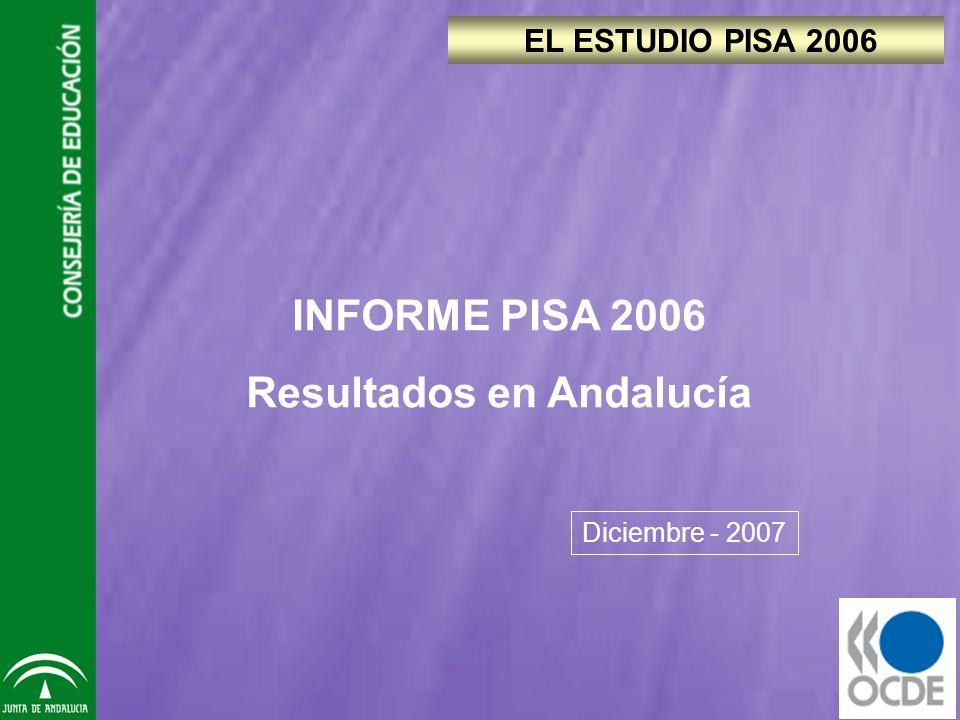 EL ESTUDIO PISA 2006 Diciembre - 2007 INFORME PISA 2006 Resultados en Andalucía