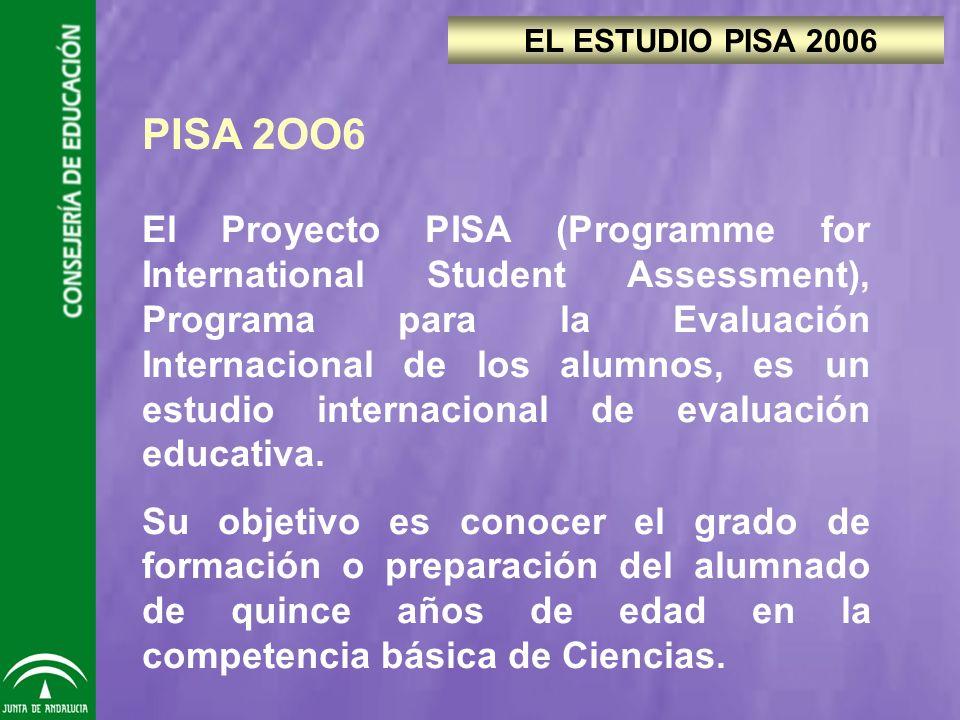 PISA 2OO6 El Proyecto PISA (Programme for International Student Assessment), Programa para la Evaluación Internacional de los alumnos, es un estudio internacional de evaluación educativa.
