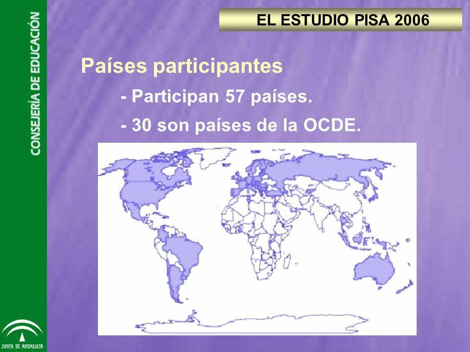 - Participan 57 países. - 30 son países de la OCDE. EL ESTUDIO PISA 2006 Países participantes