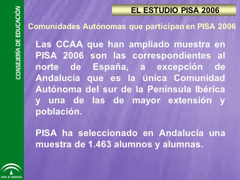 Las CCAA que han ampliado muestra en PISA 2006 son las correspondientes al norte de España, a excepción de Andalucía que es la única Comunidad Autónoma del sur de la Península Ibérica y una de las de mayor extensión y población.