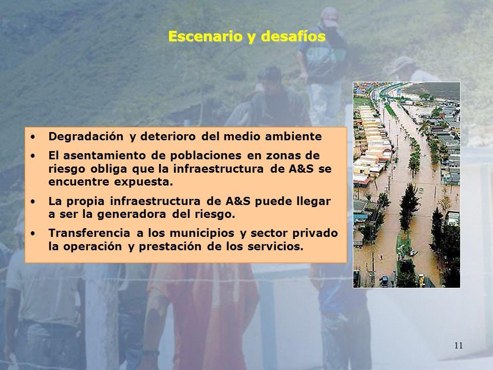11 Escenario y desafíos Degradación y deterioro del medio ambiente El asentamiento de poblaciones en zonas de riesgo obliga que la infraestructura de