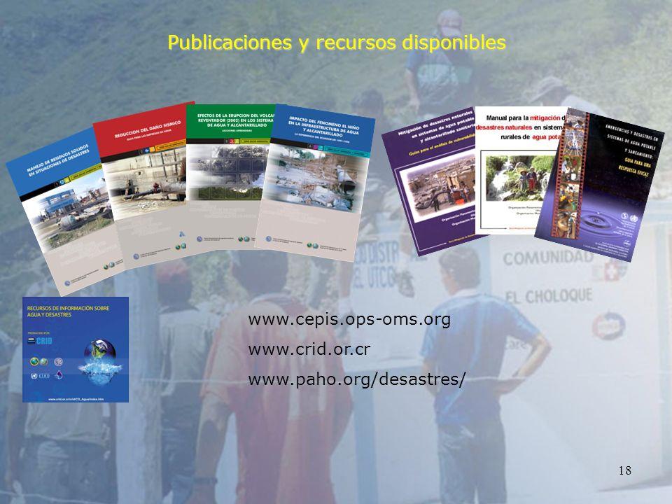 18 Publicaciones y recursos disponibles www.cepis.ops-oms.org www.crid.or.cr www.paho.org/desastres/