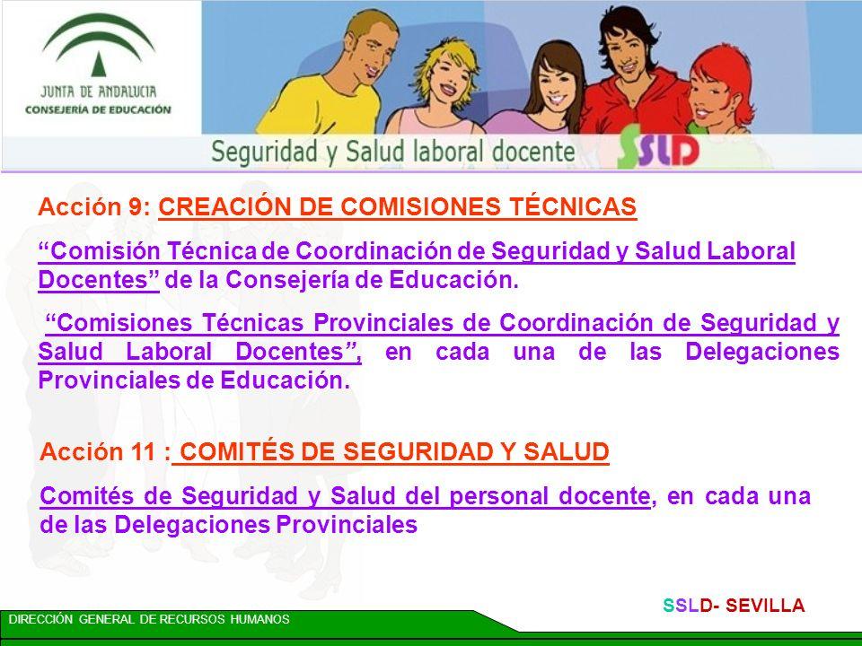 DIRECCIÓN GENERAL DE RECURSOS HUMANOS SSLD- SEVILLA Acción 8: COORDINACIÓN DE ACTUACIONES Para favorecer la coordinación regional, se crea: Dpto. de S