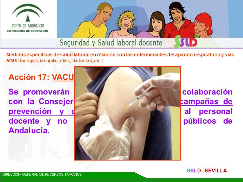 DIRECCIÓN GENERAL DE RECURSOS HUMANOS SSLD- SEVILLA Acción 16: DESHABITUACIÓN TABÁQUICA En colaboración con la Consejería de Salud y dentro del Plan I