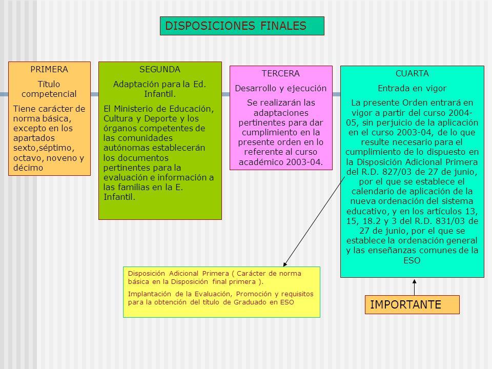 DISPOSICIONES FINALES PRIMERA Título competencial Tiene carácter de norma básica, excepto en los apartados sexto,séptimo, octavo, noveno y décimo SEGUNDA Adaptación para la Ed.