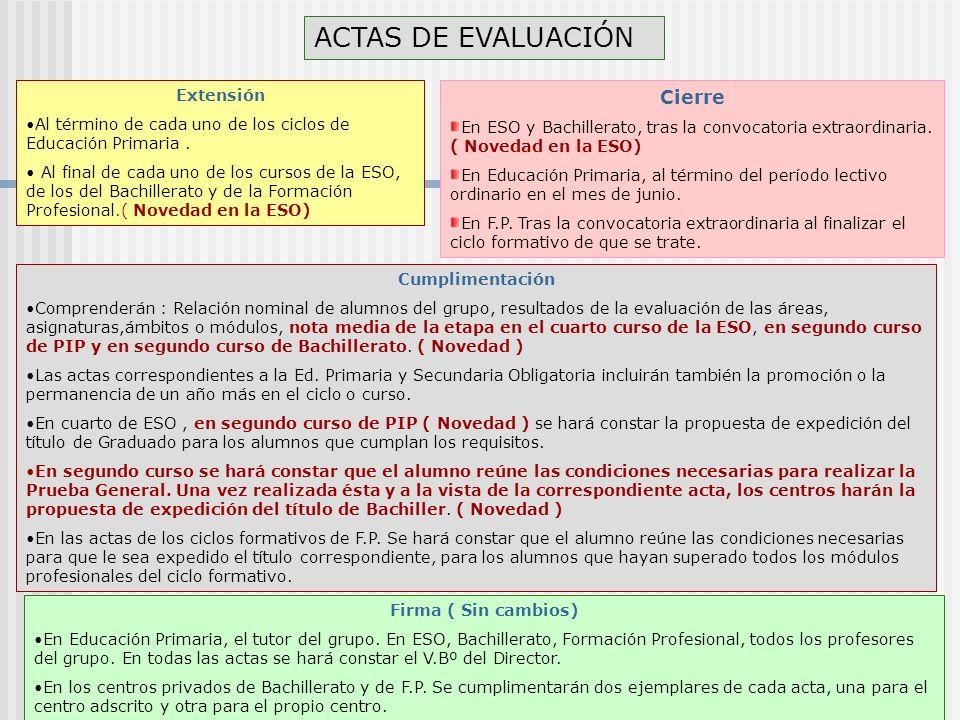 ACTAS DE EVALUACIÓN Extensión Al término de cada uno de los ciclos de Educación Primaria.