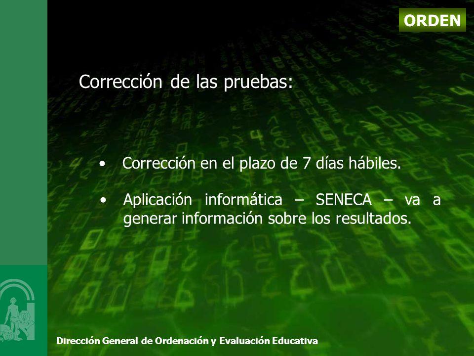 Dirección General de Ordenación y Evaluación Educativa Corrección de las pruebas: Corrección en el plazo de 7 días hábiles.