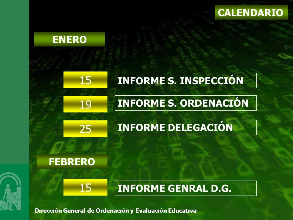 Dirección General de Ordenación y Evaluación Educativa CALENDARIO ENERO 15 INFORME S.