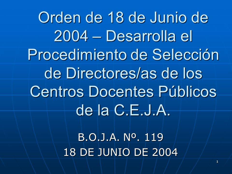 1 Orden de 18 de Junio de 2004 – Desarrolla el Procedimiento de Selección de Directores/as de los Centros Docentes Públicos de la C.E.J.A.