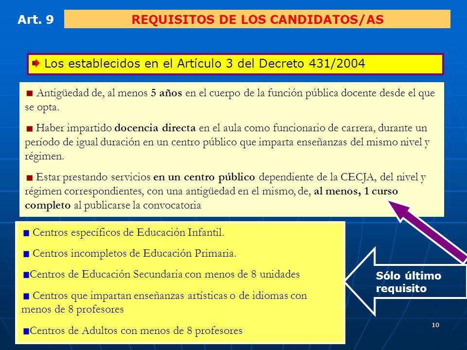 9 Art. 8FUNCIONES DE LA COMISIÓN DE SELECCIÓN Art.