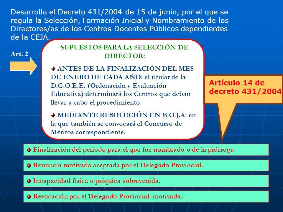 2 Desarrolla el Decreto 431/2004 de 15 de junio, por el que se regula la Selección, Formación Inicial y Nombramiento de los Directores/as de los Centros Docentes Públicos dependientes de la CEJA.