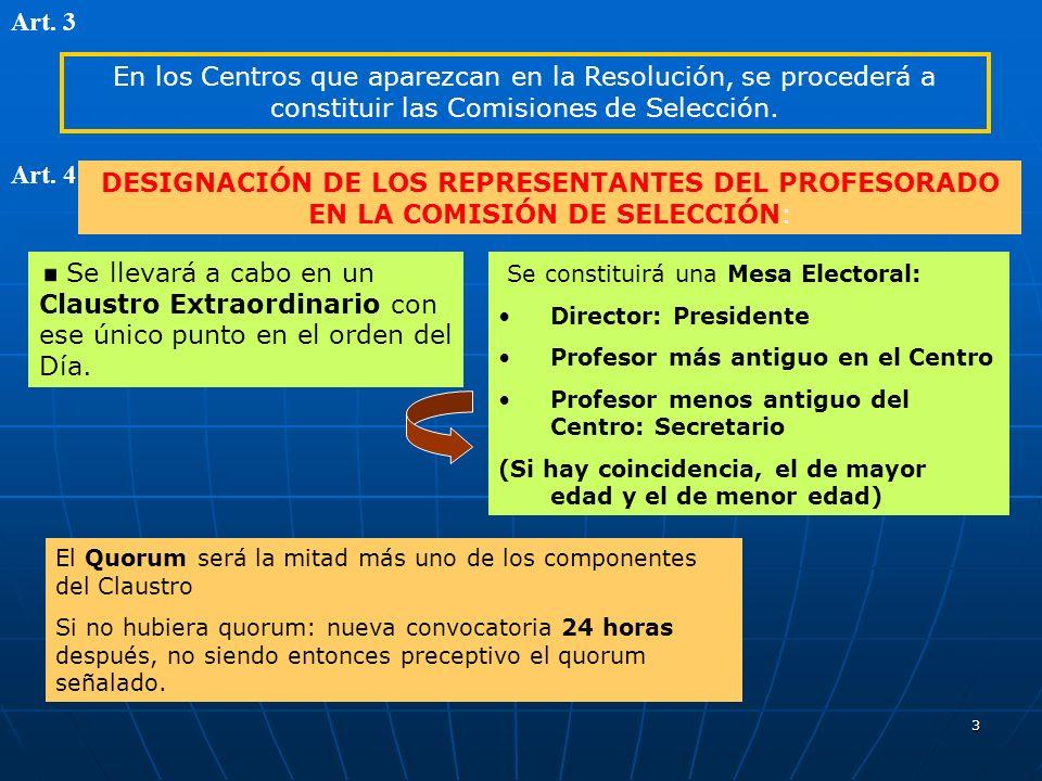 3 En los Centros que aparezcan en la Resolución, se procederá a constituir las Comisiones de Selección.