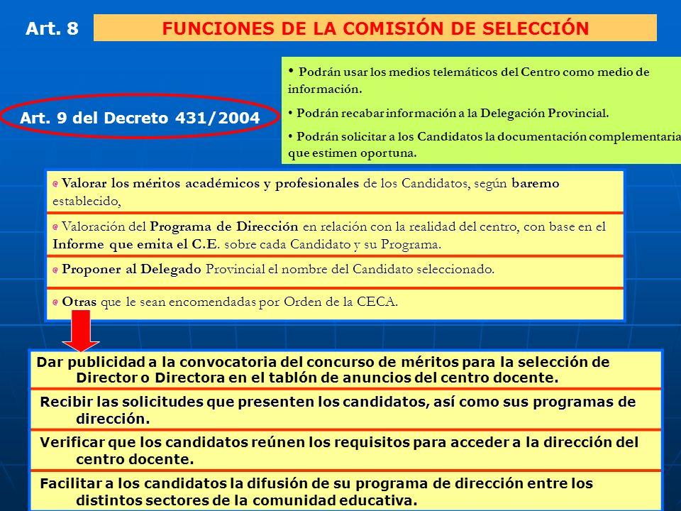 9 Art.8FUNCIONES DE LA COMISIÓN DE SELECCIÓN Art.