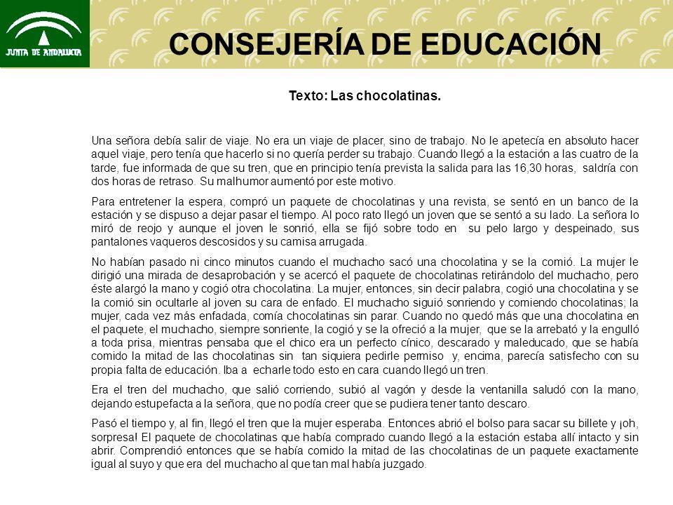 CONSEJERÍA DE EDUCACIÓN CUESTIONES: 1.¿Cuál crees que es la intención del autor.